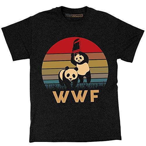 67530879 WWF Panda Vintage Retro T-Shirt WWE Wrestling Black