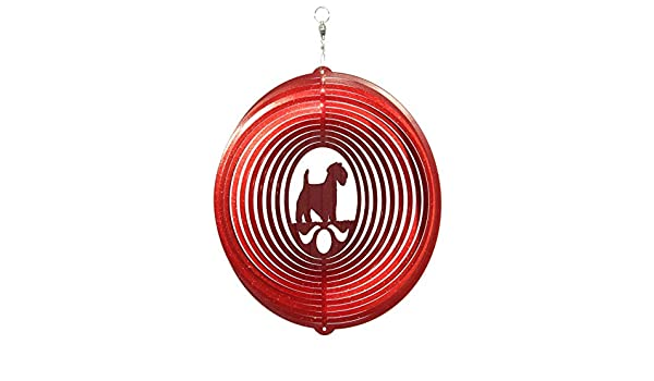 Sealyham Terrier RED Metal Swirly Sphere Wind Spinner *NEW*