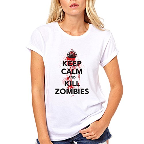 [GullPrint Women's Halloween Keep Calm And Kill Zombies T Shirt X-Large Pink] (Witch Coustumes)