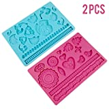 soap making funnel - 2pcs Silicone Lace Molds Cake Decorating Fondant Mat Baking Mould size 7.8