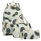 Best Back To School Backpacks - Pineapple Bookbag Casual Canvas School Backpack Cute Schoolbag Review
