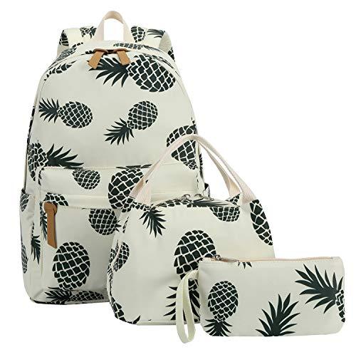 Bookbag School Backpack Girls Cute Schoolbag for 15 inch Laptop backpack set (Beige A002 Green pineapple)]()