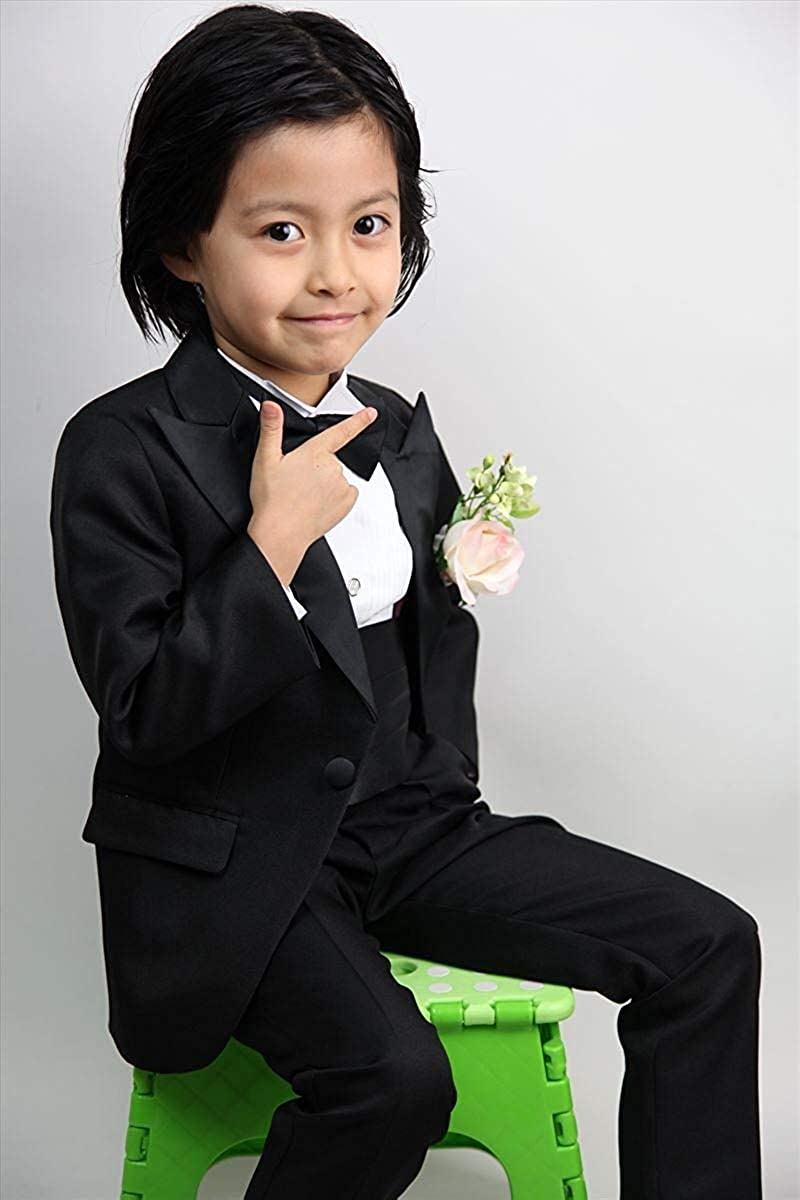Wonder Stage Boys 4 Pc Satin Lapel Tuxedo Suit Jacket Pants Cummerbund Bowtie