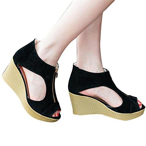 Fheaven Women Shoes Summer Zipper Sandals Casual Peep Toe...