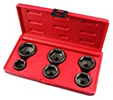 Kauplus 6PCS Oil Canister Socket Service Kit, 3/8-Inch Drive Oil Filter Socket Kit, 6 Piece, 24mm, 27mm, 29mm, 32mm, 36mm and 38mm