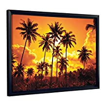 J.P. London FCNV2113 Palm Trees Relaxing Tropical Sunset Clouds Framed Art Wall Decor, 20.37x26.37x1.25-Inch