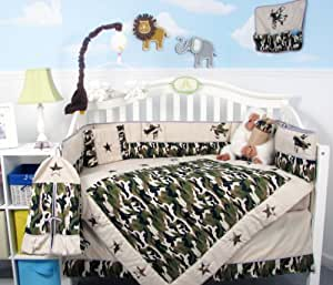 SoHo Boy Camouflage Army Baby Crib Nursery Bedding Set 13 pcs included Diaper Bag with Changing Pad & Bottle Case