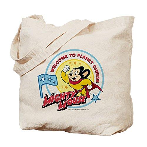 CafePress Mighty ratón–�? El Planeta Queso–Gamuza de bolsa de lona bolsa, bolsa de la compra
