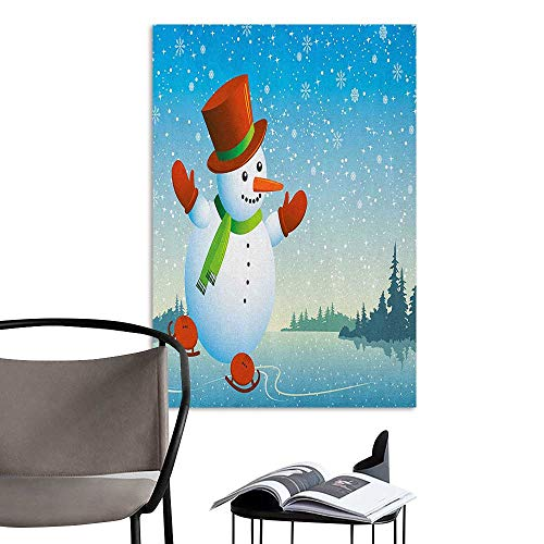 (Jaydevn Waterproof Art Wall Paper Poster Snowman Cartoon Happy Character Skating on ICY River Forest Trees Snowy Country Blue Orange Green Large Removable Decals W20 x)
