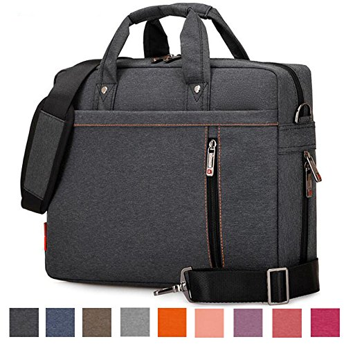 Laptop Shoulder Bag, 13 14 15.6 17 Inch Waterproof Durable Extensible Laptop Sleeve Case Messenger Bag Carrying Case Briefcase with Handle Strap for Lenovo / HP / MacBook / Asus(Black,17.3 Inch)