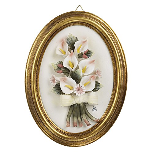 5th Avenue Collection Capodimonte Porcelain Calla Lily Wall Decor, Plaque Gold Accented