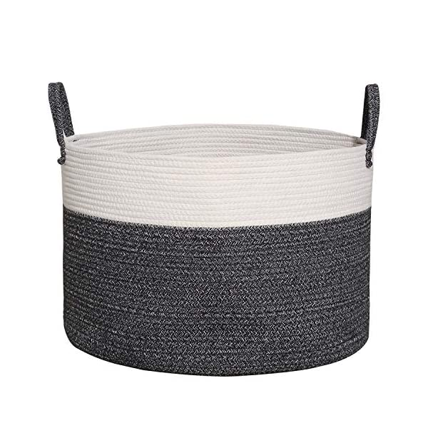 COMEMORY Cotton Rope Basket, Large Laundry Basket with Long Handles, 20″ x 14″ Blanket Basket, Wide Woven Storage Basket, Decorative Floor Basket for Living Room and Laundry