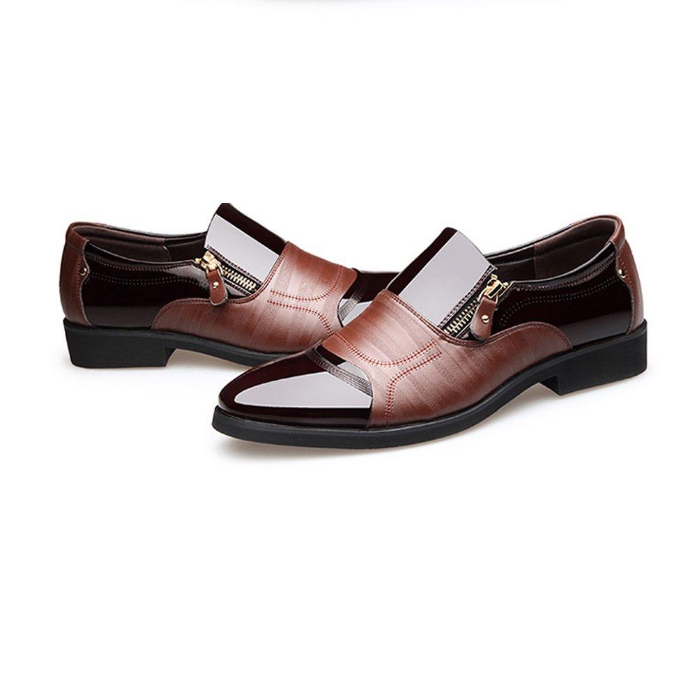 GS Schuhes Herren Geschäft Schuhe Atmungsaktive Glatt PU Leder Splice Zipper Dekoration Slip on Atmungsaktive Schuhe Mesh Oxfords Braun 7abbe7