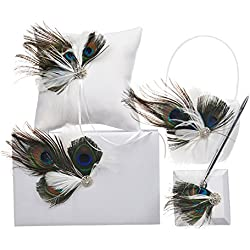 Remedios Peacock Feather Wedding Flower Girl Basket Ring Bearer Pillow Party Guest Book Pen Set