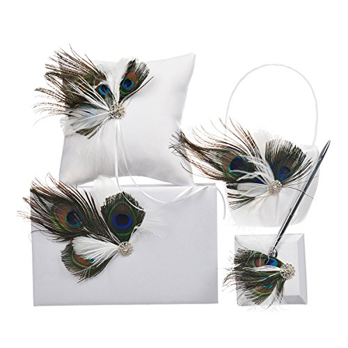 Remedios Peacock Feather Wedding Flower Girl Basket Ring Bearer Pillow Party Guest Book Pen Set by Remedios