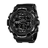 ETEVON Men's Sport Digital Watch Military LED Backlight Waterproof Electronic with Stopwatch Alarm Wrist Watches - Black