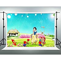 GESEN 10X7ft Fantasy Cartoon Character Backgdrop Snow White and the Seven Dwarfs on the Lawn Children Photography Backdrop You Tube Background TMGE033