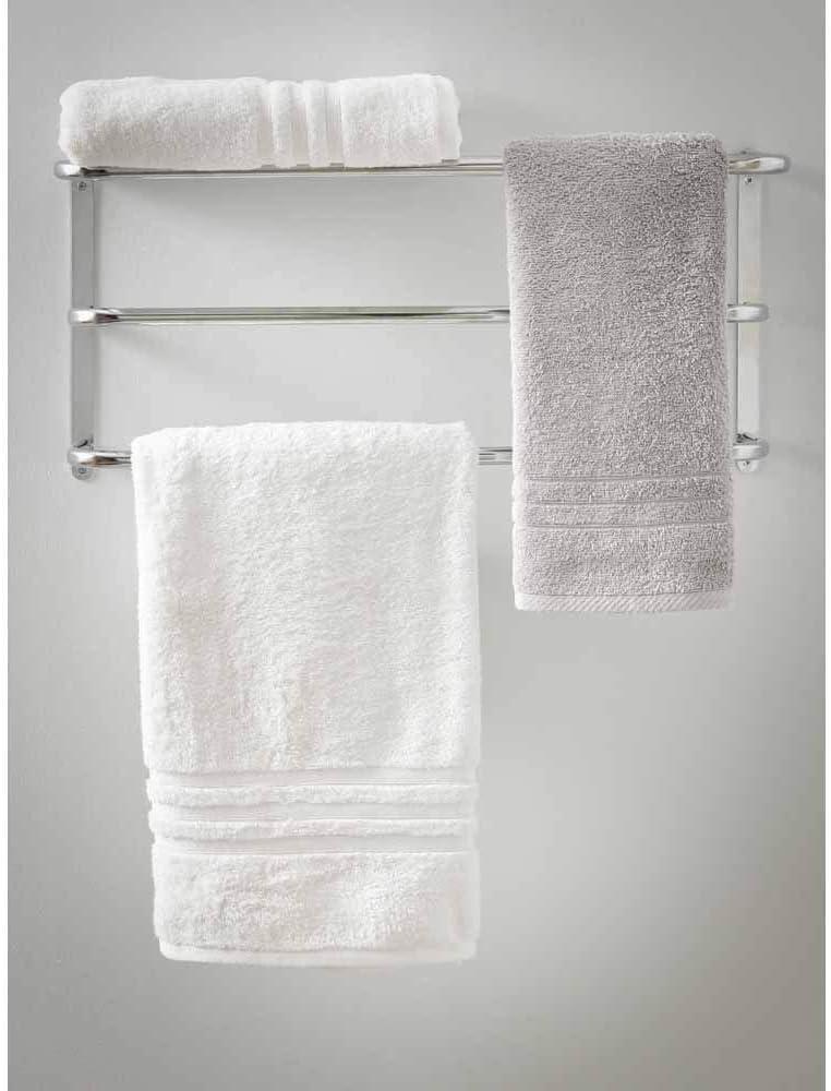 Silver Bathroom Chrome Towel Rail D21.5 x W63 x H33cm wilko Chrome 3 Tier Wall Mounted Towel Rack with Weight Loading Upto 6 kg