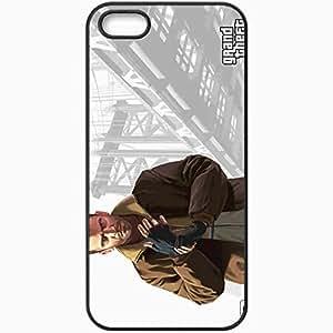 Personalized iPhone 5 5S Cell phone Case/Cover Skin Gta Grand Theft Auto 4 Niko Bellic Bridge Gloves Black