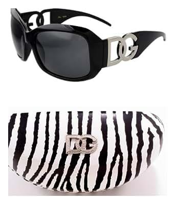 DG Eyewear Black Sunglasses & 1 Zebra DG Case JE36162B&ZC + Free Micro Fiber Bag