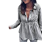 OVERMAL Tops Fashion Women Striped Casual Top T Shirt Ladies Loose Long Sleeve Top Blouse