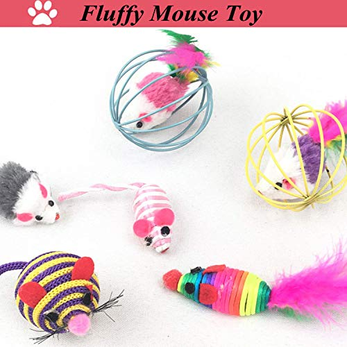 Legendog Cat Toys Set, 22PCS Kitten Toys Variety Cat Toy Pack Cat Toys Collection Kittten Toys Variety Pack Including Cat Feather Teaser Wand, Catnip Toy, Mice, Colorful Balls, Bells and so on for Cat 7