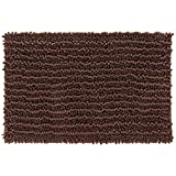 Yimobra Original Luxury Shaggy Bath Mat Large Size 31.5 X 19.8 Inch Super Absorbent Water,Non-Slip,Machine-Washable,Soft and Cozy,Thick Modern for Bathroom,Bedroom,Floor,Brown