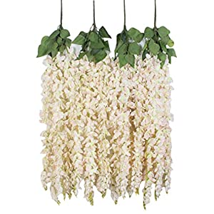Duovlo 4 Pcs 3.12 Feet Artificial Wisteria Hanging Garland Flowers Silk Flower Bush for Wedding Party Home Garden Wall Restaurant Decoration(Light Pink) 52