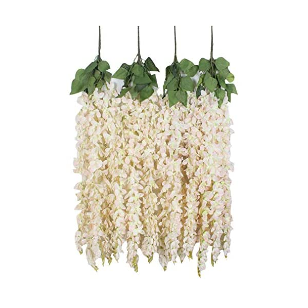 Duovlo 4 Pcs 3.12 Feet Artificial Wisteria Hanging Garland Flowers Silk Flower Bush for Wedding Party Home Garden Wall Restaurant Decoration(Light Pink)