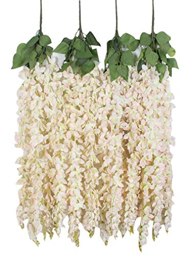 Duovlo 4 Pcs 3.12 Feet Artificial Wisteria Hanging Garland Flowers Silk Flower Bush for Wedding Party Home Garden Wall Restaurant Decoration(Light Pink) by Duovlo