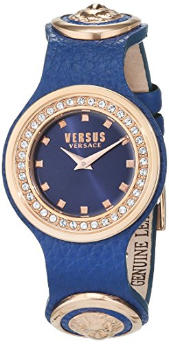 Versus by Versace Women's 'CARNABY STREET CRYSTAL' Quartz Stainless Steel and Leather Casual Watch, Color:Blue (Model: SCG190016)