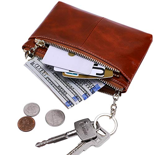 (Itslife RFID BLOCKING Triple Zipper Leather Mini Coin Purse Card Holder with Key Chain (Maroon))