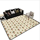 Household Decorative Floor mat,Summer Season Dessert on a Cone with Chocolate Sauce Hand Drawn Cartoon Pattern 6'6''x8',Can be Used for Floor Decoration