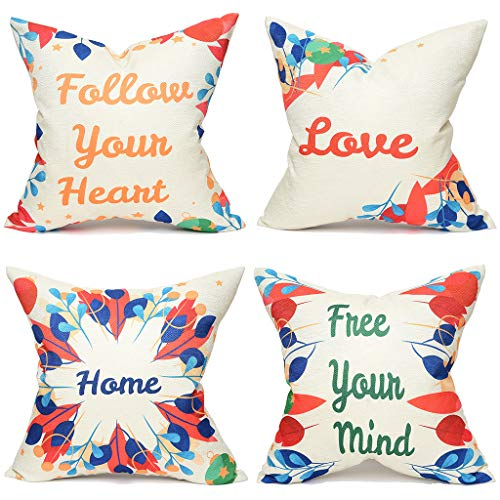 Yinnazi Colorful Leaves Pattern Throw Pillow Cover Square Cushion Case Decorative Pillowcase for Couch Living Dorm Chair 18 x 18 Inch Set of 4 (Modern Simplicity)