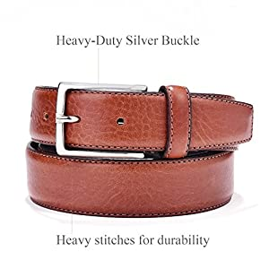 Italian Leather Belt - Tan Leather Belt for Men Business Style with Gift Box 34
