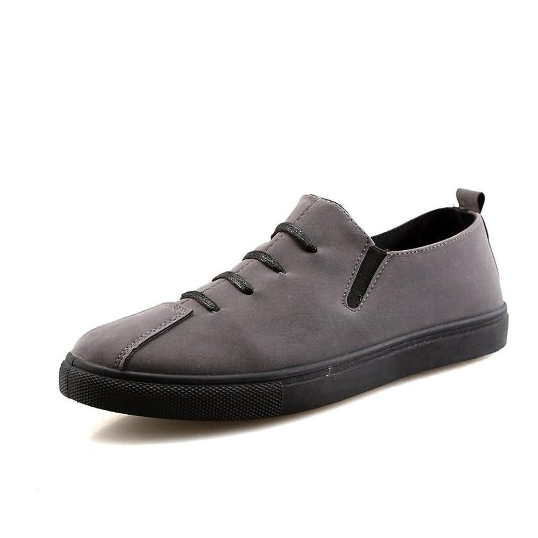 Zapatos Planos del Ocio del Color sólido del Loafer de la Moda de los Hombres del Zapato con Cordones Gris