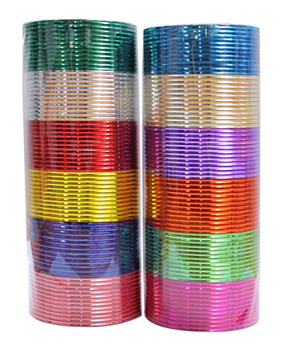 {Extra 25% Discount} MuchMore Indian Traditional Box of 144 Plain Metal Bangles Bracelets Indian Costume Partywear Jewellery (2.4 Inches) - Costumes Indian Jewelry