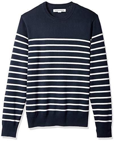 Lightweight Striped Sweater - Amazon Essentials Men's Crewneck Sweater, Navy/White Mariner Stripe, Small