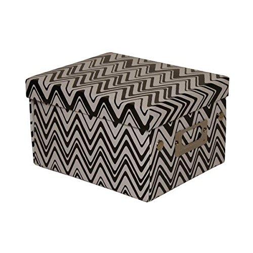 JAM Paper Decorative Box - 6 3/4 x 8 5/8 x 5 1/8 - Zig Zag Print Black & White - 36/pack