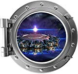 "12"" Port Scape Instant Space ship Window View SPACE STATION #2 SILVER Porthole Wall Decal Sticker Graphic Home Kids Game Room Art Decor NEW"