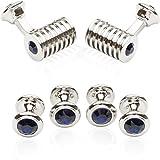 Cuff-Daddy Silver Blue Swarovski Barrel Crystal Cufflinks and Studs Formal Set with Presentation Box