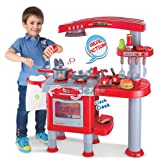 Childrens, Kids Large Toy Kitchen, Pretend Play with over 30 accessories (Red)