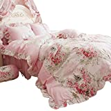 FADFAY Home Textile Pink Rose Floral Print Duvet Cover Bedding Set For Girls 4 Pieces King Size