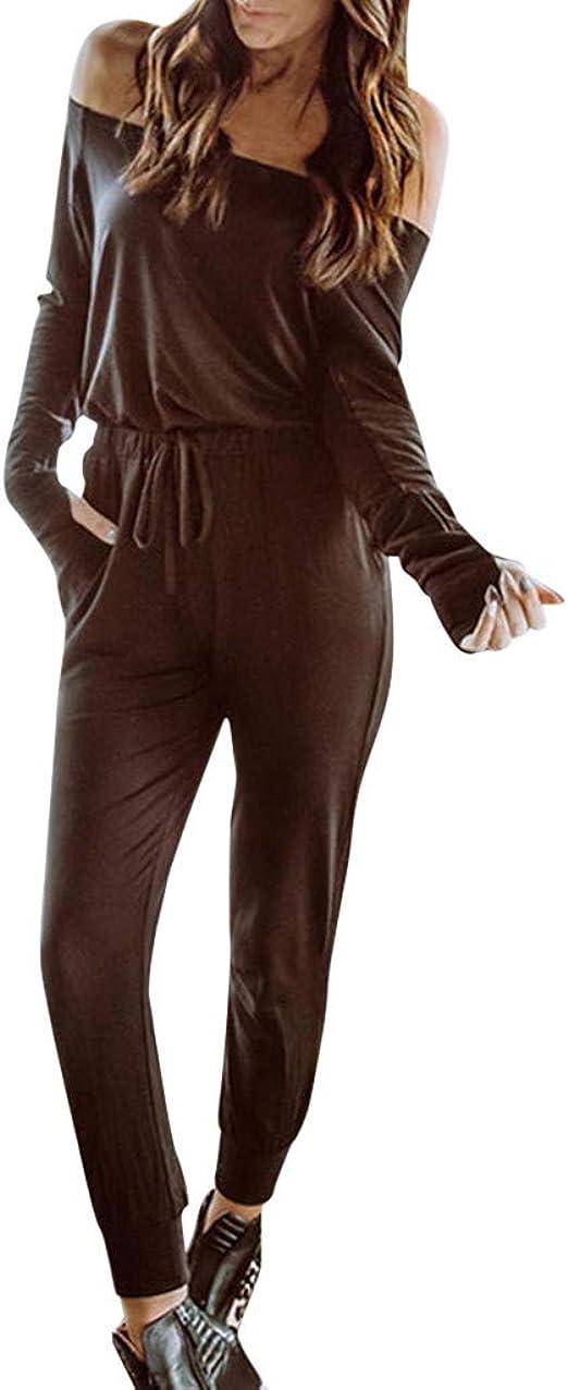 Chándal Largo para Mujer, Manga Outfits, un Hombro, Top y pantalón ...