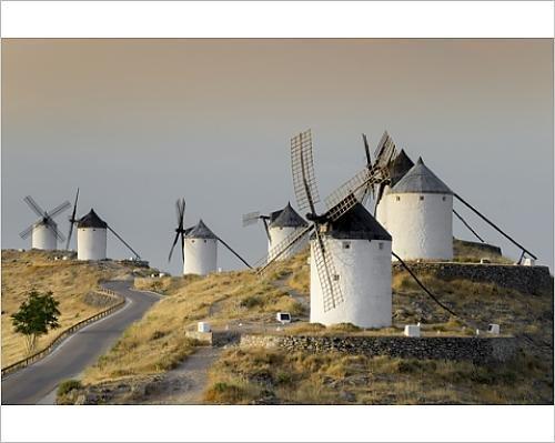 10x8 Print of Don Quixote windmills, Consuegra, Castile-La Mancha, Spain, Europe (12398024)
