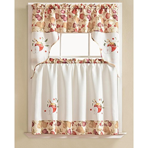 RT Designers Collection Tier and Valance Urban Embroidered Tier & Valance Kitchen Curtain Set -, Apple,