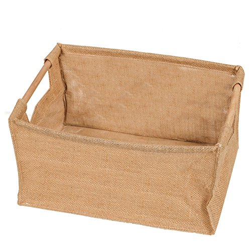 Farmhouse Toy Box (Ling's moment Jute Hessian Burlap Storage basket for Kids/Baby Toys Clothing Play Room Organizer Collapsible Waterproof PE Coating Lining)