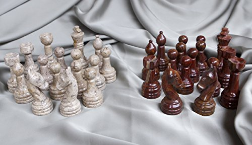 RADICALn Dark Brown and Light Brown Marble Big Chess Figures - Complete 32 Figures - Suitable for 16 to 20 inches Chess Board