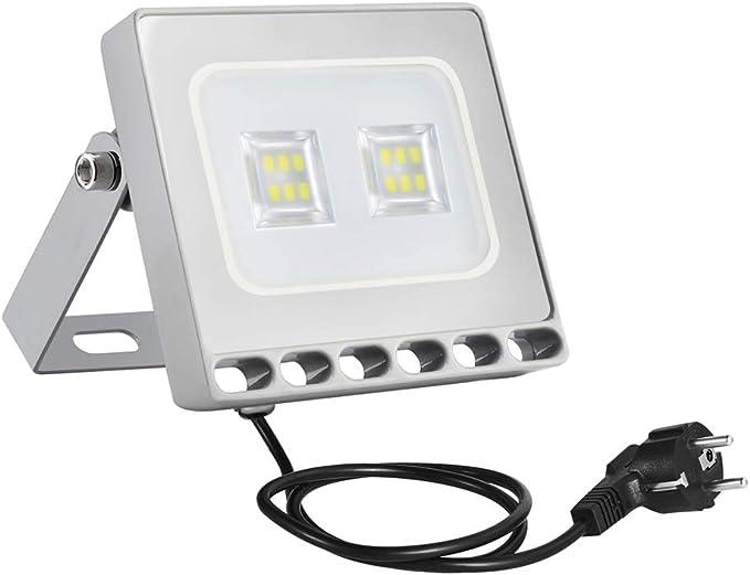 10w Foco Proyector LED Ultra Plano para exterior, Floodlight con SMD2835 LED Bombilla de luz Fría, IP67 Impermeable, Enchufe Contenido, 850lm: Amazon.es: Iluminación
