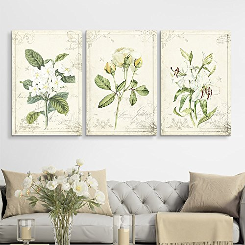 3 Panel Vintage Style White Flowers x 3 Panels